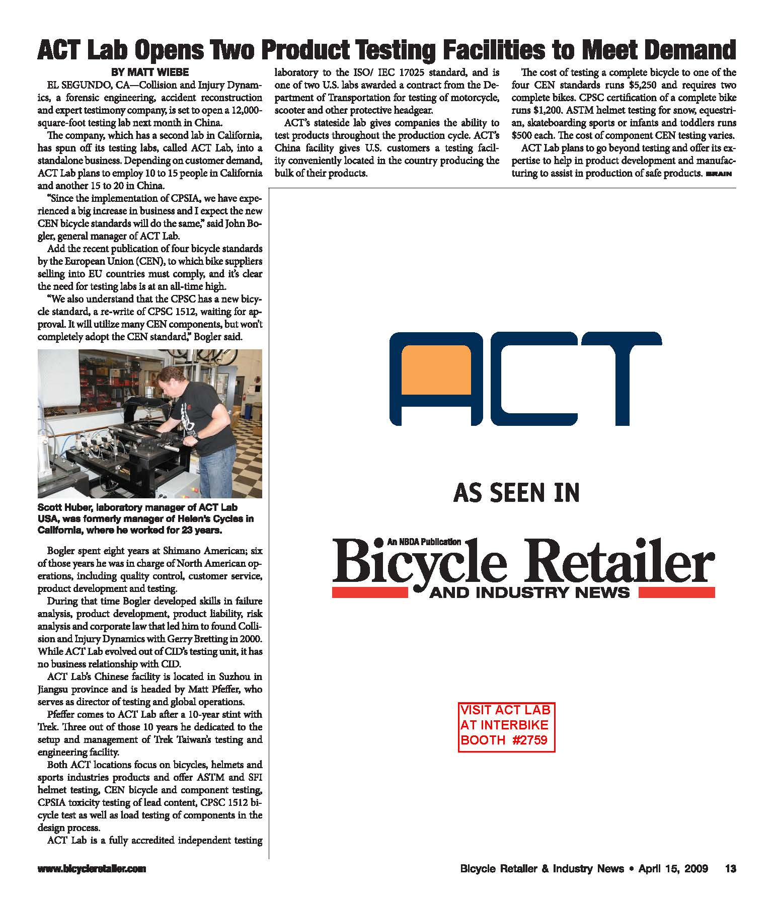 ACT IB09 April 15 Bicycle Retailer And Industry News